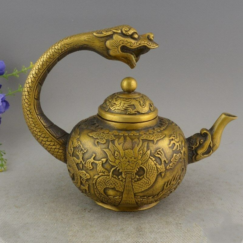 Old Chinese Brass hand-carved Lucky DRAGON STATUE teapotOld Chinese Brass hand-carved Lucky DRAGON STATUE teapot