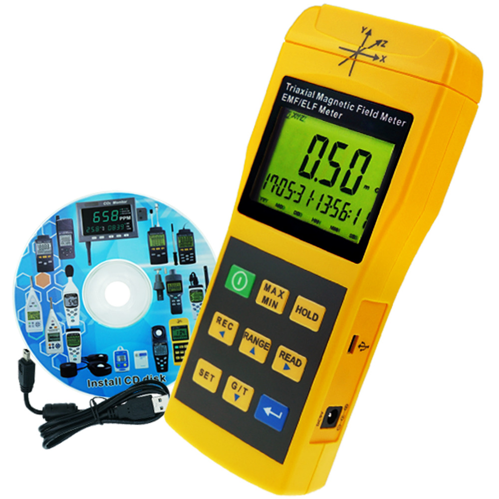 Medidor de Gauss 2000 mg Datalogger USB com Software para PC, campo eletromagnético Detector Mini Triple Axis 2000 hz Medidor de EMF ELF