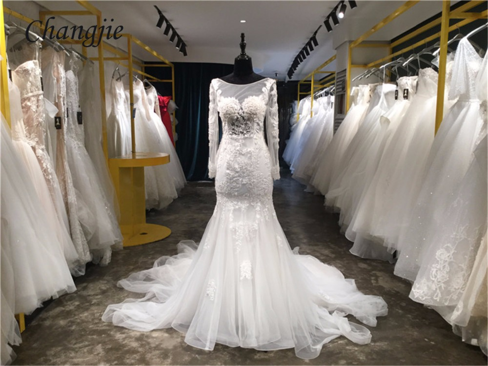 Mermaid Wedding Gowns With Sleeves: Custom Made Lace And Applique Wedding Dresses 2018 Long