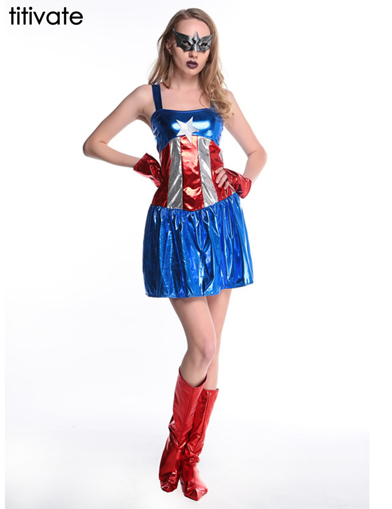 TITIVATE Halloween Captain America Costume Superhero Straps Overbust Cosplay Fancy Dress Hen Party Gown Outfit For Adult Ladies