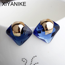 New Charm Fashion Jewelry Blue Crystal Rhinestone Square Stud Earrings New for Woman Gold Earrings Accessories brincos XY-E664