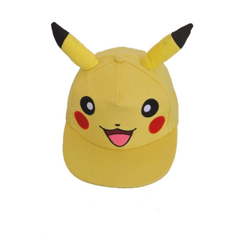 Anime Pokemon Pikachu Cosplay With Ears Kawaii Baseball Caps Adults Children Flat Cap Hip Hop Sun