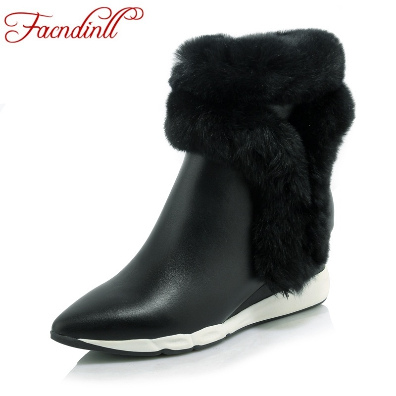 FACNDINLL genuine leather fur shoes women winter ankle boots wedges fashion high heels pointed toe snow boots black casual shoes facndinll women genuine leather ankle boots black red fur leather high heels pointed toe shoes woman autumn winetr riding boots