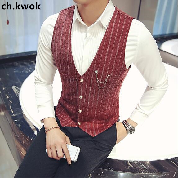 CH.KWOK Stripe Formal Suits Vest Red Gray Casual Male Business Suits Vest Evening Clothing Mens Slim Fit Casual Gilet Waistcoat
