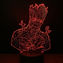 Cute Kids Led Nightlight Marvel Super Hero Groot Night light for Child Bed Room Decorative 3d Lamp Boys Usb