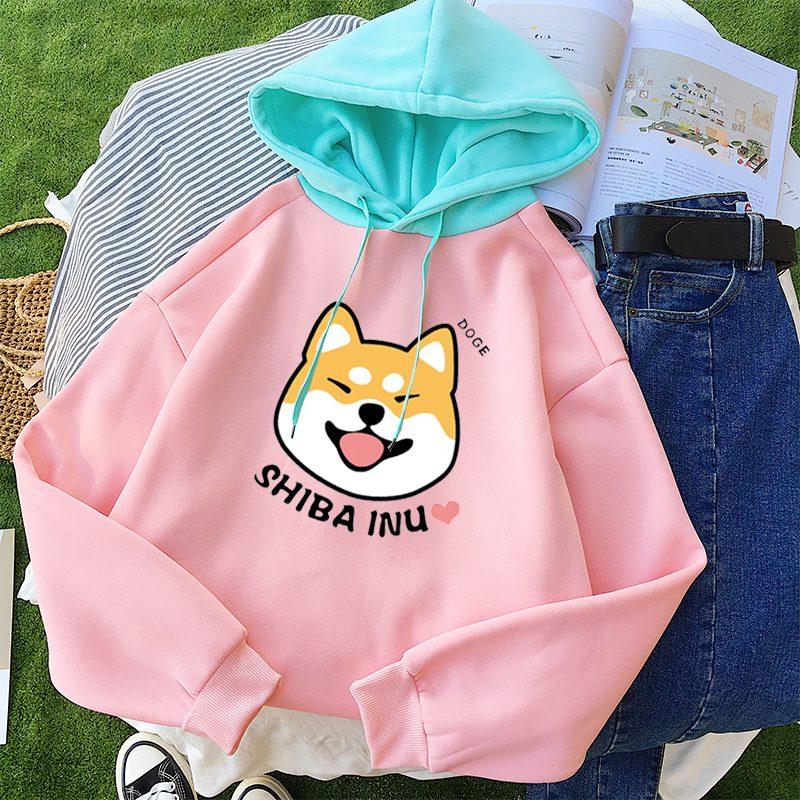 Autumn Winter Pullover Women Fleece Kawaii Cartoon Shiba Inu Sweatshirt Hoodies Fashion Casual Harajuku Dog Print Female Outwear 3