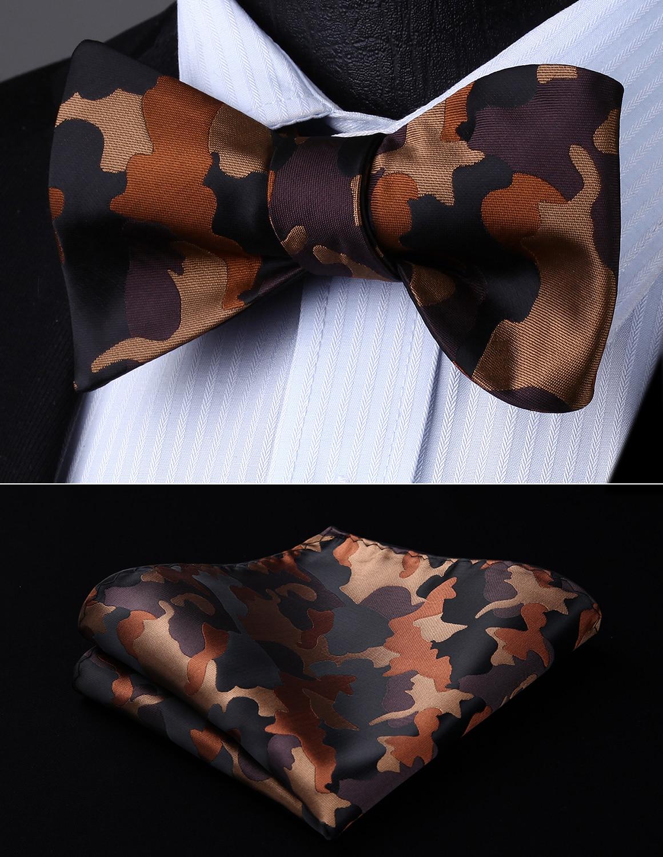 Men Woven Party Wedding Brown Geometric Self Bow Tie Pocket Square Set#BG805ZS Bow Tie Handkerchief Set