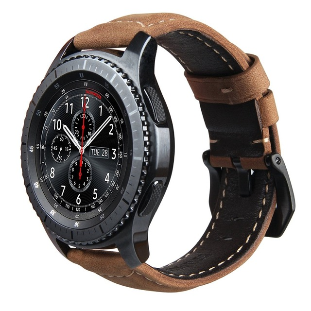 V-MORO Genuine Leather Strap For Gear S3 Smart Watch Band Replacement Watch Bracelet For Gear S3 Classic frontier Smart watch