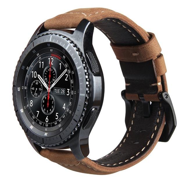 V-moro genuine pulseira de couro para a engrenagem s3 smart watch substituição faixa de relógio pulseira para engrenagem s3 clássico fronteira smart watch