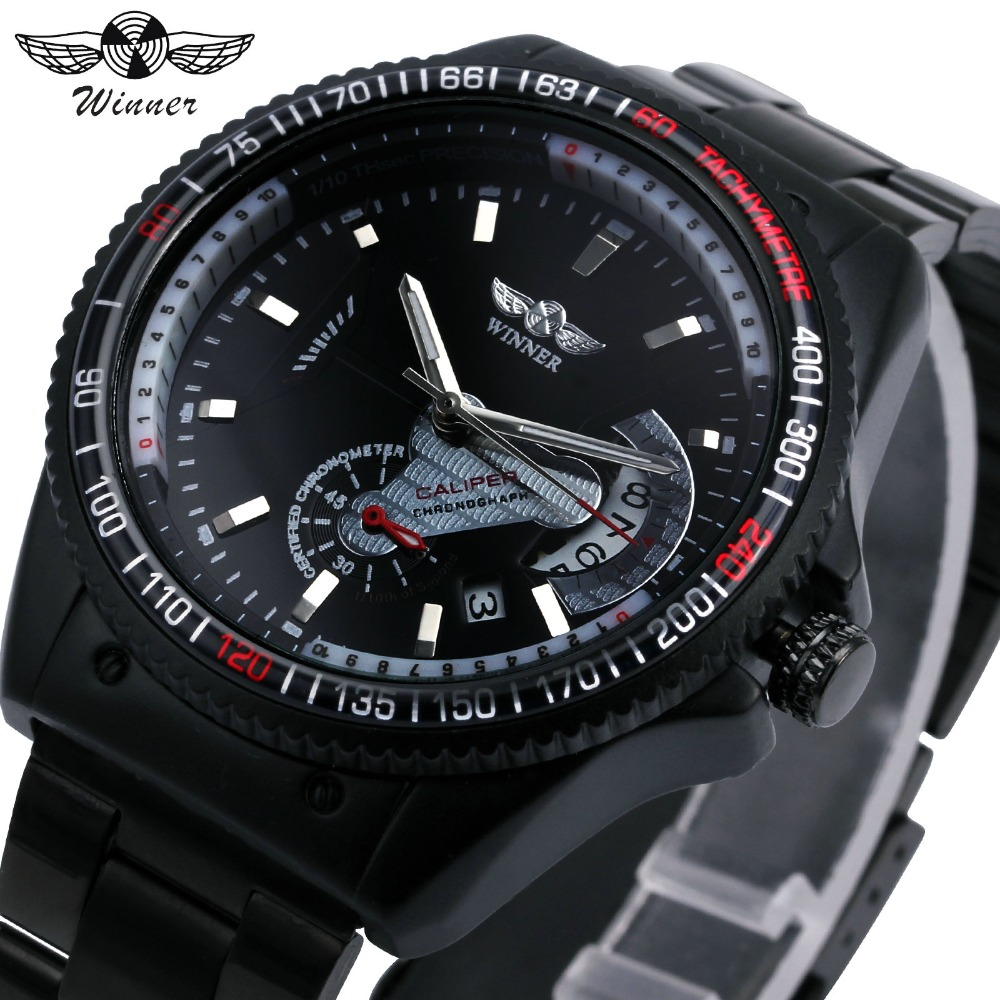 WINNER Sport Watch Men Auto Mechanical Watches Working Sub-dial Date Display Cool Black Stainless Steel Strap Fashion Wristwatch winner men s automatic mechanical watch stainless steel strap date calendar sub dial supersize new fashion sports design