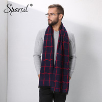 Spasril Men Classic Autumn Winter Cashmere Scarf Irregular Plaid Pattern Shawl Soft Comfort 180x30 Simple Male