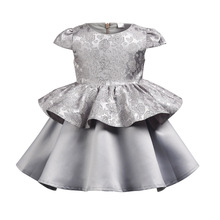 цена на Children Evening Dresses With Bow-knot Hair Band Silver Gray Flower Baby Girl Princess Dress For Birthday Party Wedding Dress