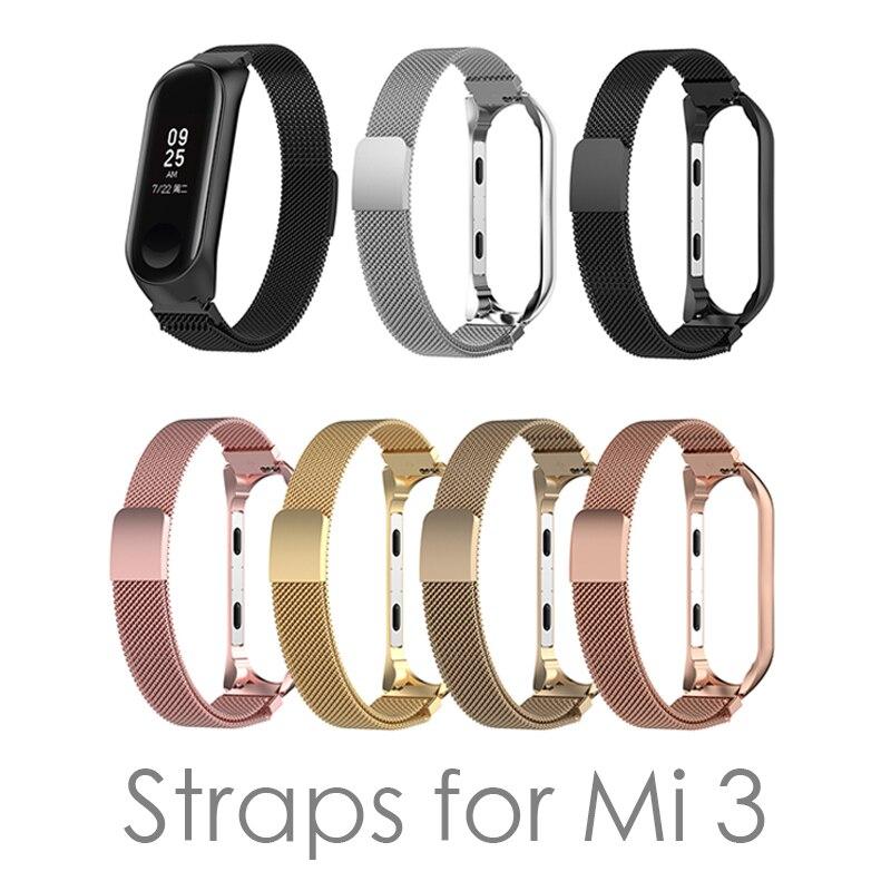 Mi Band 3 Strap bracelet Magnetic attraction metal Wristband and Xiaomi Band4 Smart mi3/mi4 Accessories wrist