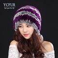 YCFUR Novas Mulheres Genuine Malha Rex Fur Gorros Chapéus de Inverno Tampas de Chapéus de Pele De coelho Com Bolas De Pêlo Pompons De Peles Naturais feminino