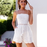 a8d846fc6fc CWLSP White Hollow Out Women Summer Strap Playsuit Sexy Drawstring Beach  Loose Holiday overalls rompers body