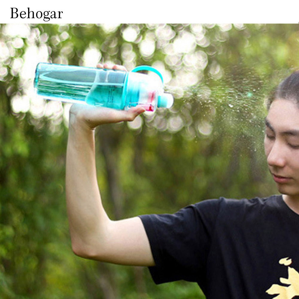 Behogar 600ml Portable Water Drinking Spraying Misting Mist Drinking Shaker Bottle for Students Worker Outdoor Sports Biking