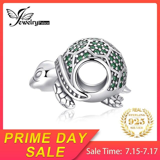 JewelryPalace Đại Dương Động Vật Rùa Nano Nga Simulated Emerald 925 Sterling Silver Charm Hạt Cho Phụ Nữ 2018 Mới Nóng