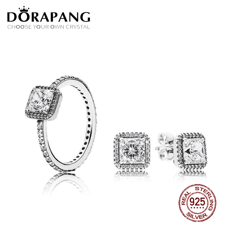 DORAPANG 2018 100% 925 Sterling Silver SALE - TIMELESS ELEGANCE White RING Charms rings Fit DIY Original Jewelry A Set