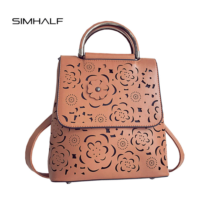 SIMHALF New Fashion Women s backpack High quality PU backpack female for teenagers Hollow Out Flower