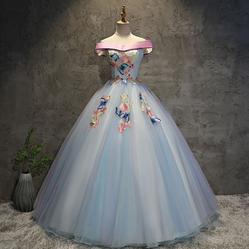 Luxury Turquoise Quinceanera Ball Gown Dresses Long Off Shoulder Lace Short Sleeves Sweet 16 Party Prom Evening Gowns