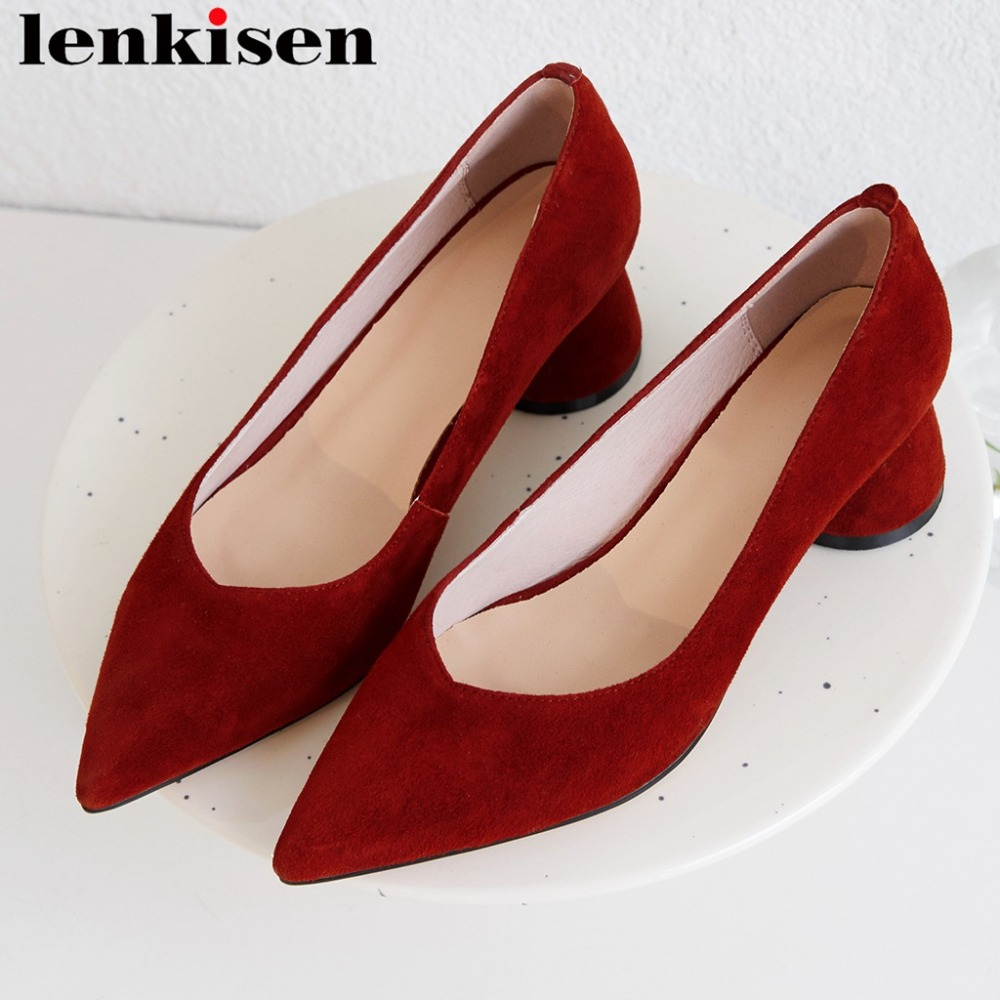 2019 genuine leather thick med heels slip on oxford pointed toe handmade Hollywood movie stars wedding