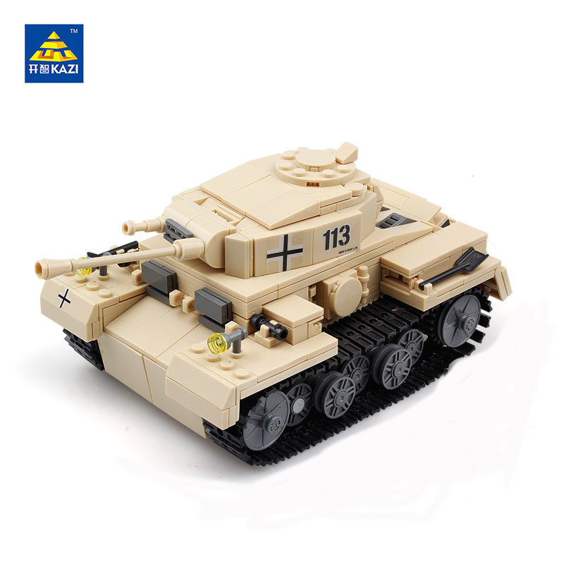 KAZI Military World War 2 Classic Vehicle German Cannon Panzerkampfwagen 3 Tank Model Army Solider Building Blocks Bricks Toys kazi large military 1463pcs 2in1 tank hummer building blocks bricks army war models toys for boys children compatible lepin