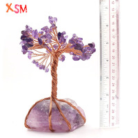 xinshangmie Natural Amethysts Stone Energy Bead Wrap Tree Irregular Crystal Reiki Healing Home Decor Ornament Gift 1 Pcs