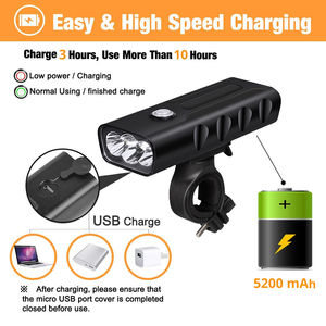 Image 3 - LED Flashlight 2/3*T6 Bicycle Light Built in 5200mAh Battery USB Rechargeable Front Cycling Flashlights with Taillight Gift