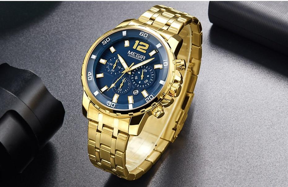 HTB1LDRsbmtYBeNjSspkq6zU8VXaD Megir Men's Gold Stainless Steel Quartz Watches Business Chronograph Analgue Wristwatch for Man Waterproof Luminous 2068GGD-2N3