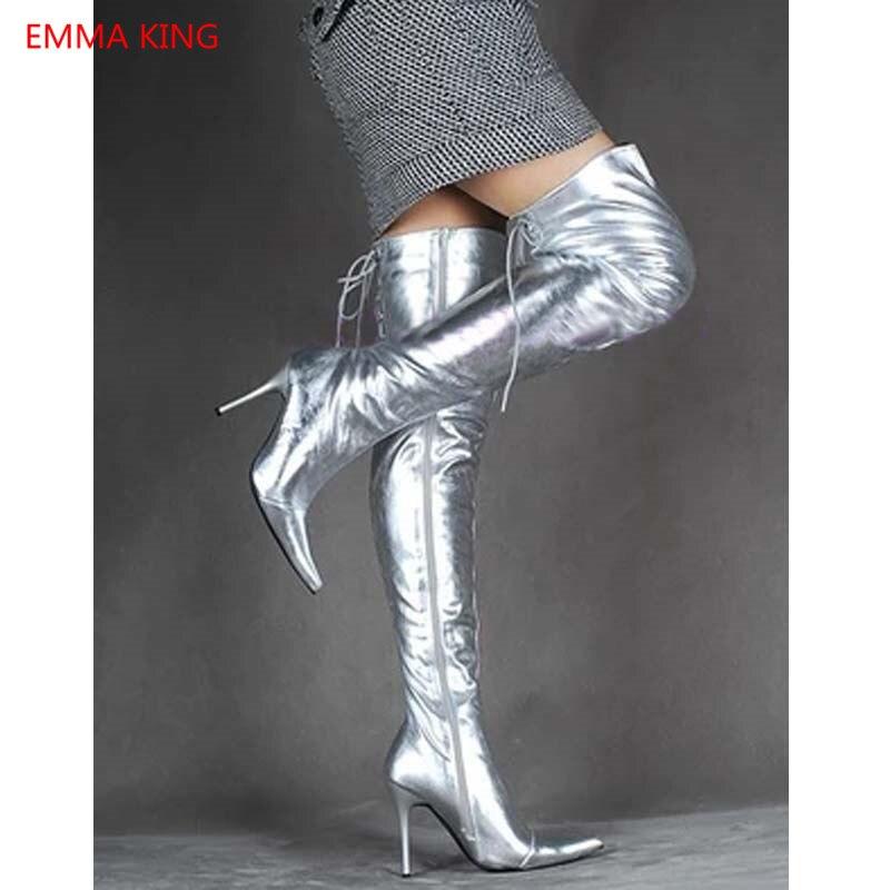 30ca44e4cd Shown Botas De Plata Puntiagudas La Invierno Mujer Zapatos In Altas Tacones  Con Moda Cordones Rodilla ...