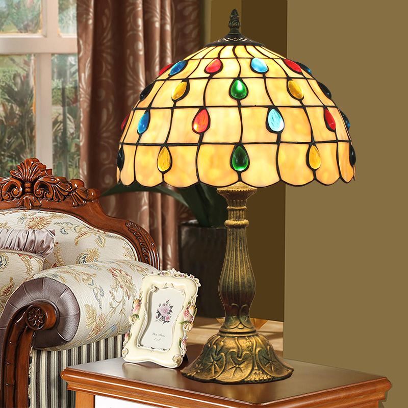 ODIFF European creative color Bead living room restaurant Bedroom bedside lamp Coloured glazed lamp Bar Desk Lamps 110-240V E27