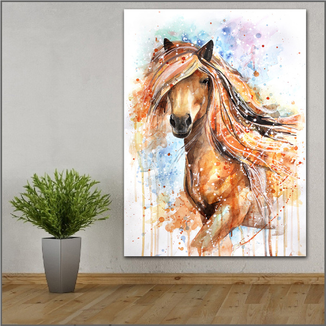 Us 10 58 47 Off Large Size Printing Ink Painting Horse Yellow Wall Art Picture Home Decor Living Room Modern Canvas Print Paintings No Frames In