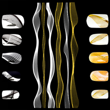 2 Styles Golden Silver Wave Strip 3D Nail Sticker Black White Adhesive Lines Manicure Art Decorations LCS