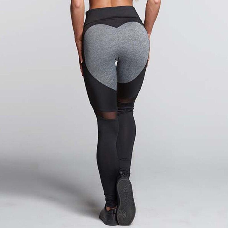 2018 New Heart Pattern Mesh Splice Leggings Sexy Fitness Clothing Elastic Leggings Women Pants Sports Leggings