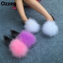15 colors autumn latest version Women hairy Ostrich Feather furry Fur flats  shoes fuzzy warm comfortable f9dcc1eb25ea