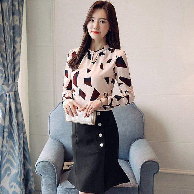 S-XXL Women's Shirts Spring 2020 Fashion Summer V-neck Long Sleeve Blouse Sexy Tops Office Lady Printed Blouses Chiffon Shirts 4
