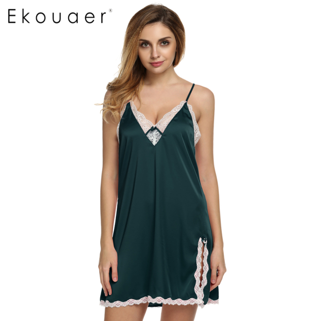 ee6b3927e3131 Ekouaer sleep dress Sexy Satin Sleepwear Silk Nightgown Women Nightdress  Sexy Lingerie Plus Size S M L XL XXL Female Nightie