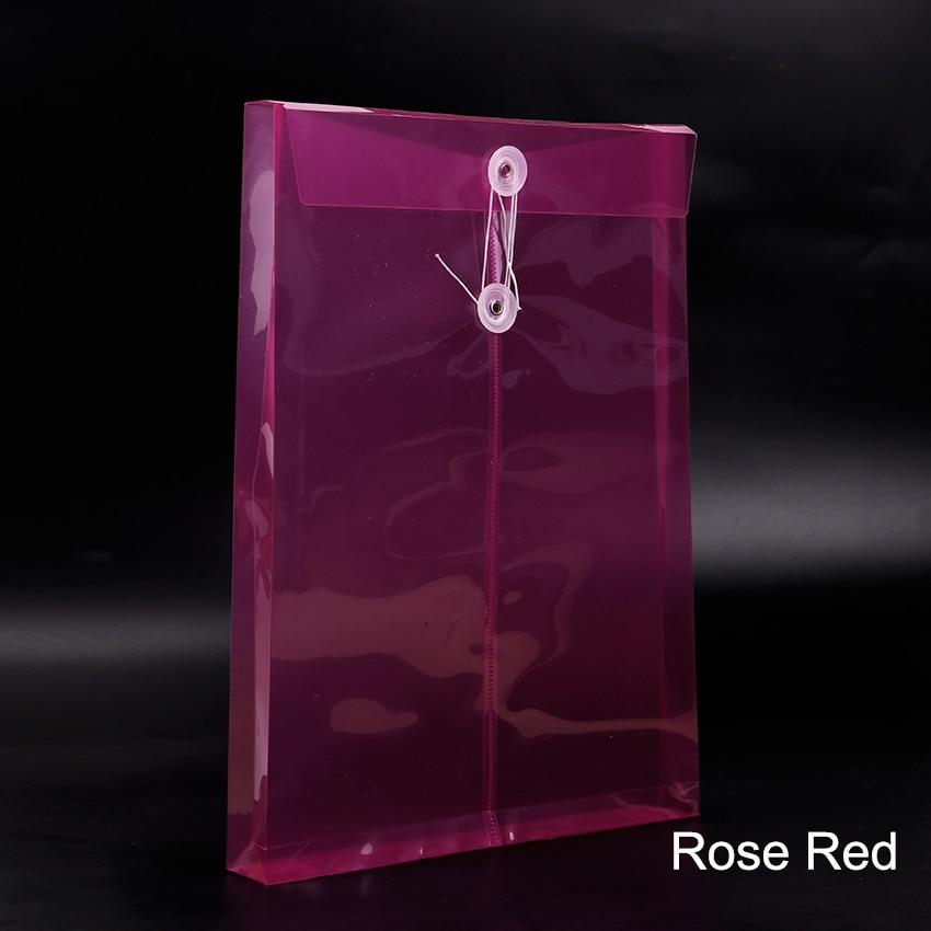 1 шт. модная офисная папка формата А4, сумка с застежкой на кнопках, прозрачная пластиковая папка для файлов, канцелярские принадлежности для офиса - Цвет: Rose Red