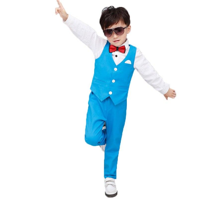 Aggressiv Jungen Formale Smoking Kleid Anzüge Kinder Jäten Sets Weste Hosen 2 Stücke Kinder Prinz Kostüme Kinder Kleidung Geburtstag Geschenk Anzug F158
