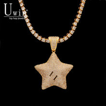 UWIN Five Point Star Pendant CZ Bling 3D Micro Paved Cubic Zirconia Men Charms Hip Hop Fashion Jewelry Tennis Chain For Gift(China)