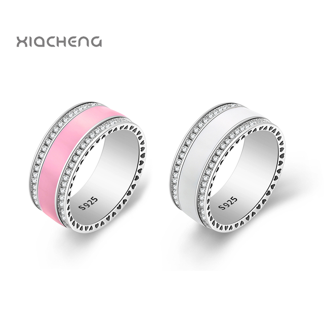 925 Sterling Silver Ring Charms With PinkPink & White Color with Drops of oil Wedding Ring For Women R100