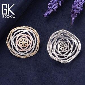 Image 4 - GODKI Luxury Geometry Cubic Zirconia Nigerian Big Stud Earrings For Women Wedding African Bridal Earrings boucle doreille femme