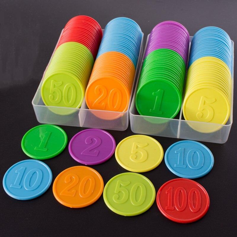 80 pcs en plastique poker puces valeur 1 2 3 5 10 20 50 100 grand et petit nombre pour les jeux jetons en plastique pièces
