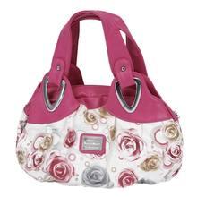 b7f4769b2 Bolsa da forma Das Mulheres PU Sacola do Saco de Impressão Bolsas de couro  Satchel-rosas Vermelhas + Rosa Vermelha Alça de Mão