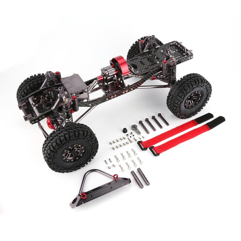 CNC de Metal de aluminio y carbono de cuerpo para coche RC 1/10 AXIAL SCX10 chasis 313mm de distancia entre ejes vehículo oruga coches partes