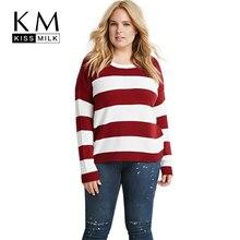 Kissmilk Plus Size Fashion Women Clothing Casual Striped Preppy Style Sweater Pullover O-Neck Big Size Sweater 3XL 4XL 5XL 6XL цена в Москве и Питере