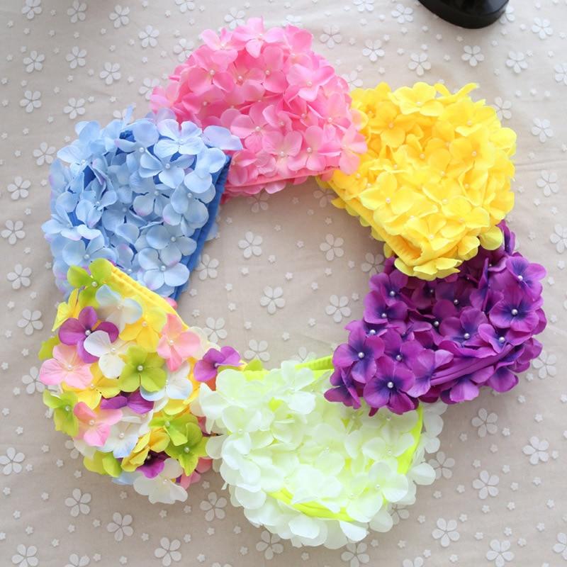 Buy Hot Women 3D Petal Swim Hat Bath Cap Ladies Swimming Pool Flower Hats MCK99 for only 10.48 USD