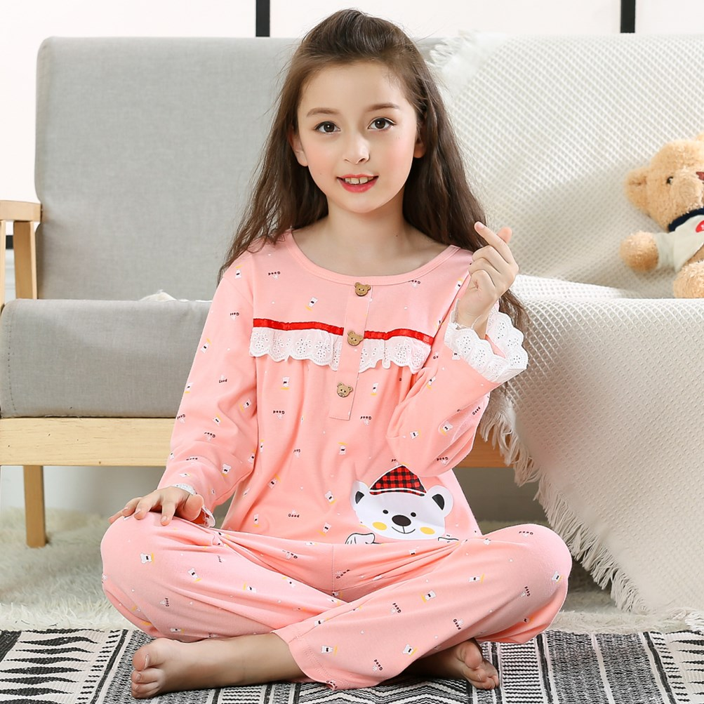цена на Pajamas for girls 2018 sleepwear Cotton long Sleeved top+Pants spring and autumn Kids princess Suits Home clothes Christmas gift