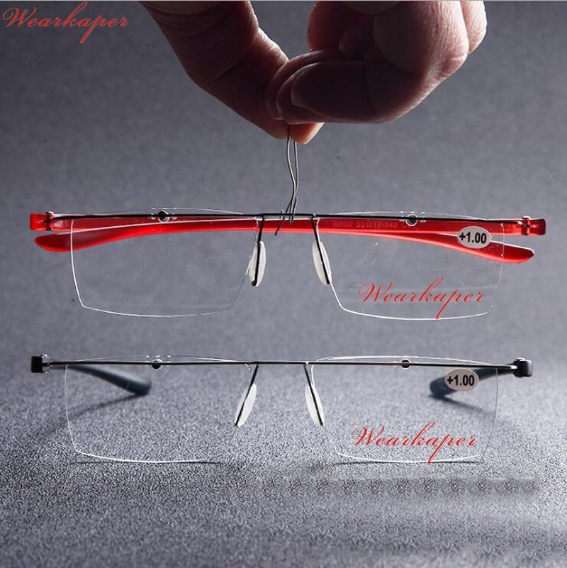 faacc3ee73f WEARKAPER New HD Frameless reading glasses men women Ultra Light Resin  Lenses Presbyopia Alloy Frame Unisex Eyewear 1.0 to 4