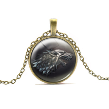 New Arrival 2016 GAME OF THRONES Pendant Necklaces Cartoon Anime Wolf Necklace For Boys Girls Trendy Animal Neck Chain Neck Wear